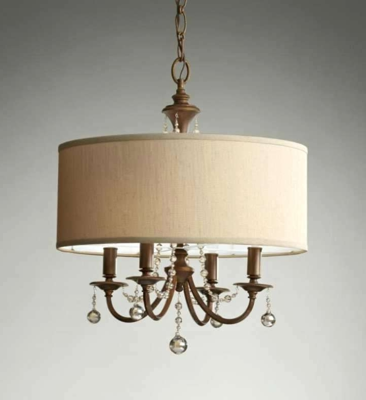 Crystal Drum Chandelier Trendy White Drum Shade Chandelier With Within Most Popular Cream Chandeliers (View 3 of 10)