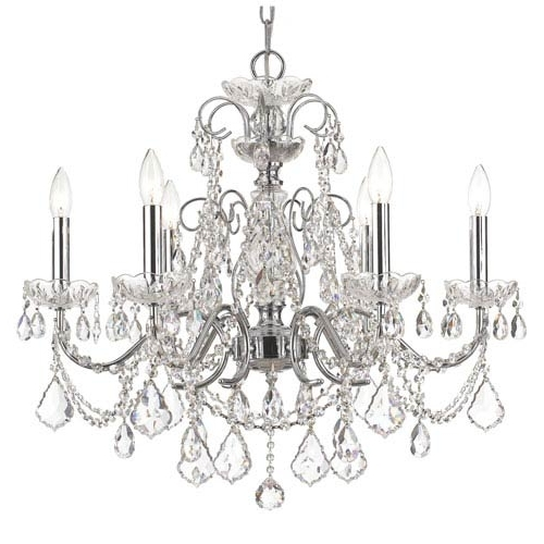 Crystorama Lighting Group Imperial Polished Chrome Clear Majestic Regarding Most Recent Crystal Chandeliers (View 9 of 10)