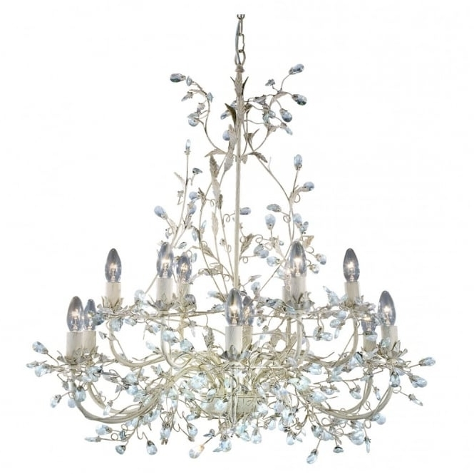 Current Almandite Large 12 Light Cream & Gold Chandelier Crystal Droplet Decor For Cream Chandeliers (View 4 of 10)