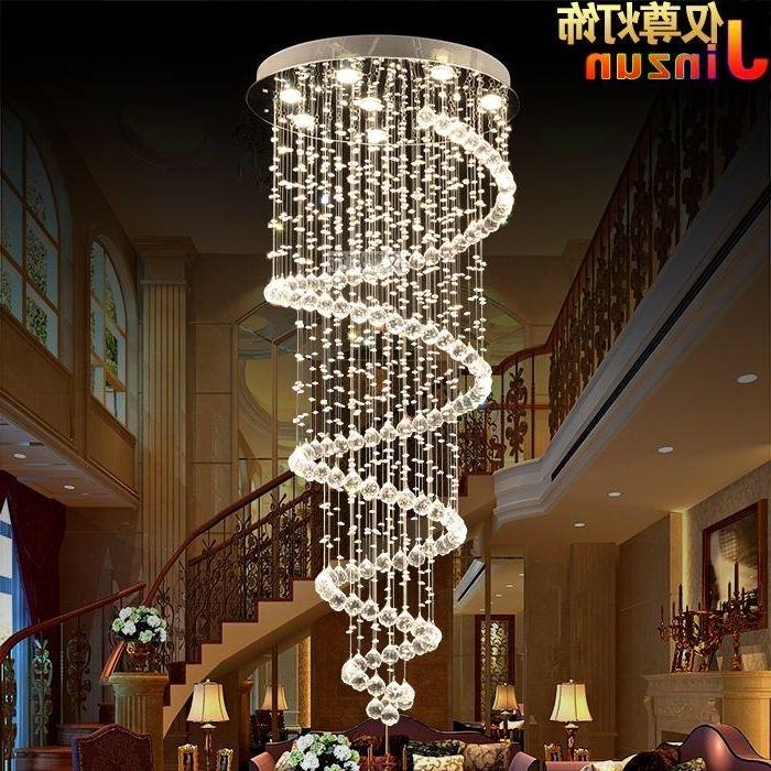 Current Crystal Chandelier Modern Minimalist Circular Rotating Villa Duplex Throughout Stairwell Chandelier (View 7 of 10)