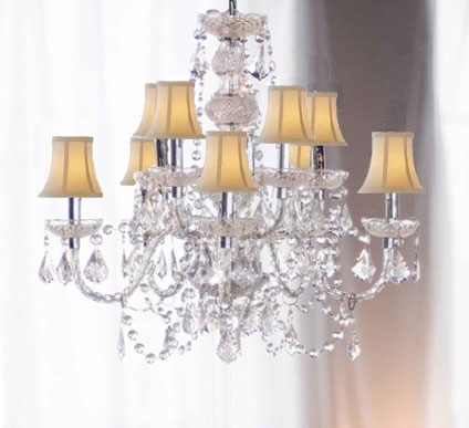 Current Crystal Chandeliers With Shades Intended For Chandelier Chandeliers Crystal In Crystal Chandelier With Shade (View 5 of 10)