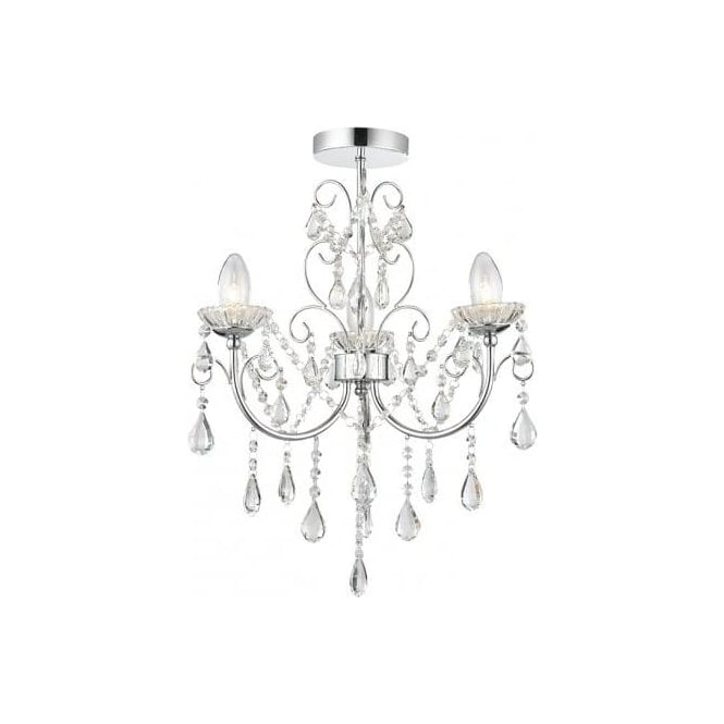 Current Endon Lighting Chandeliers Intended For Endon Lighting Tabitha 3 Light Semi Flush Bathroom Chandelier In (View 4 of 10)