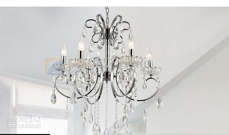 Current European Simple Crystal Lamp Chandelier/ Bedroom Lamp Lighting With Chrome And Crystal Chandelier (View 9 of 10)