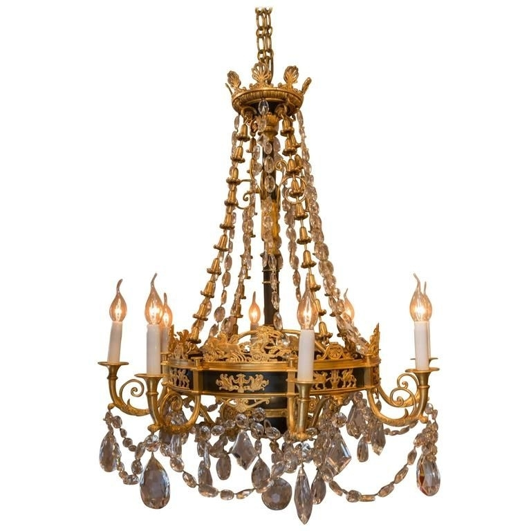 Current French Bronze Chandelier With French Empire Style, Late 19th Century, Patinated And Gilt Bronze (View 8 of 10)