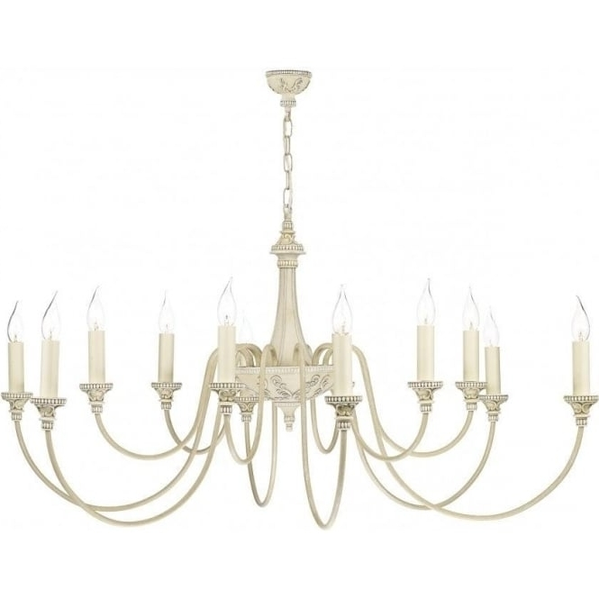 Current Large British Made Antique Cream Chandelier With 12 Candle Lights Intended For Cream Chandelier (View 6 of 10)