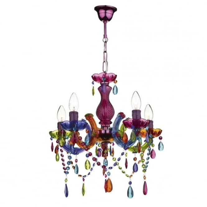 Current Modern Multi Coloured Ceiling Chandelier – Great For Girls Bedroom (View 3 of 10)