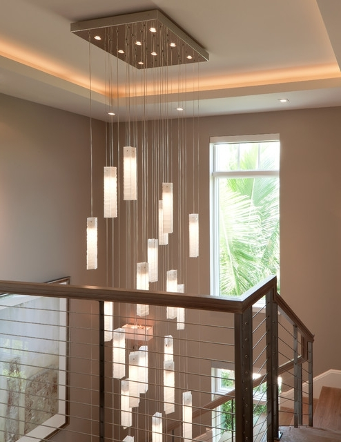 Current Stairwell Chandelier Pertaining To Tanzania Chandelier – Contemporary Living Room Stairwell Light (View 2 of 10)