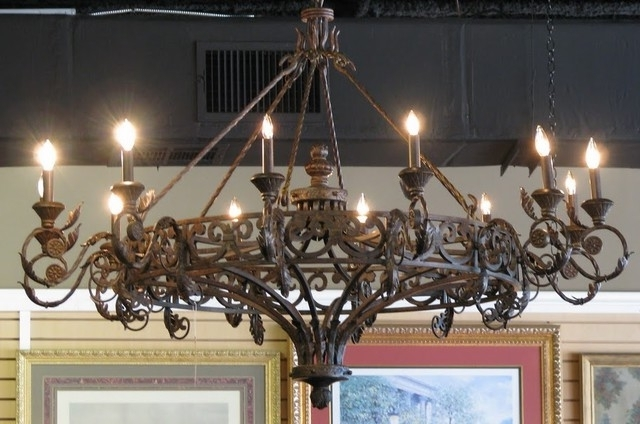 Current Traditional Round Cast Iron Antique Chandelier Wrought In Inside Cast Iron Antique Chandelier (View 2 of 10)