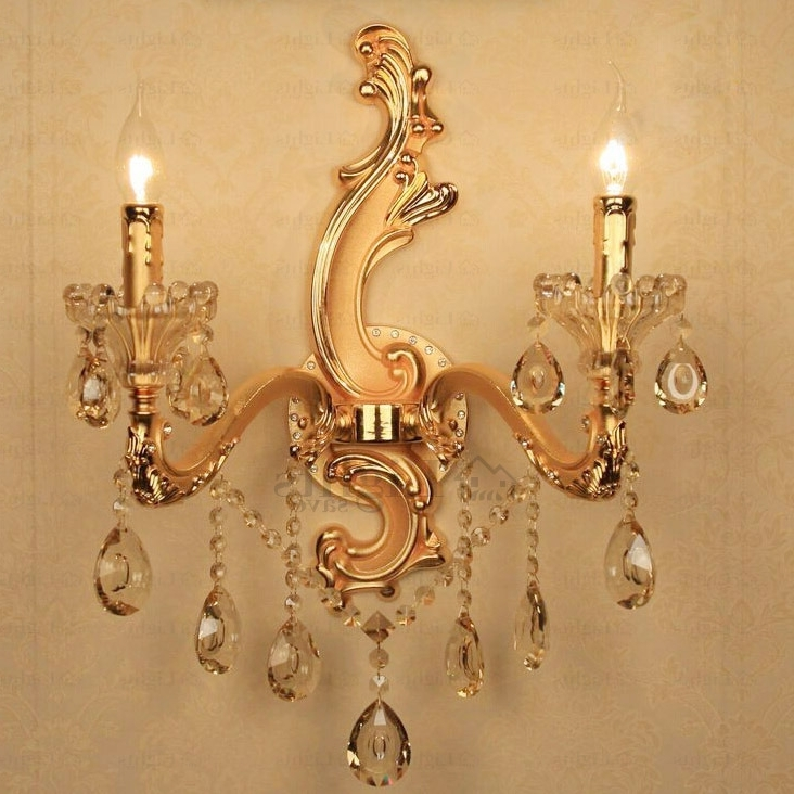 Designer Golden Wall Mounted Candle Sconces With Crystal Inside Widely Used Wall Mounted Candle Chandeliers (View 4 of 10)