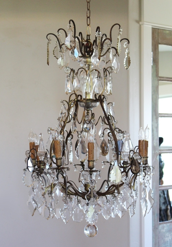 Early 1800s French Antique Bronze Crystal Electric Chandelier Pertaining To Recent French Antique Chandeliers (View 7 of 10)