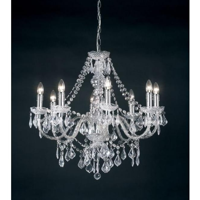 Endon Lighting Chandeliers In Recent Endon Lighting Clarence 8 Light Acrylic Crystal Chandelier (Gallery 3 of 10)