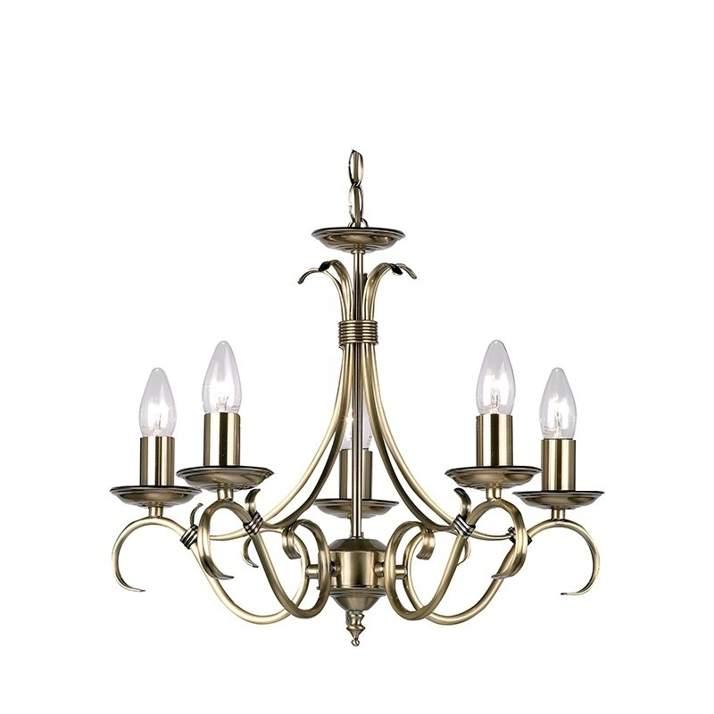 Endon Lighting Chandeliers With Regard To 2018 Endon Lighting Bernice 2030 5an Antique Brass Finish 5 Light Chandelier (Gallery 2 of 10)