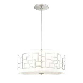 Fabric Drum Shade Chandeliers Throughout Widely Used Fabric Drum Shade Chandelier Modern 3 Light Ceiling Pendant W White (View 7 of 10)