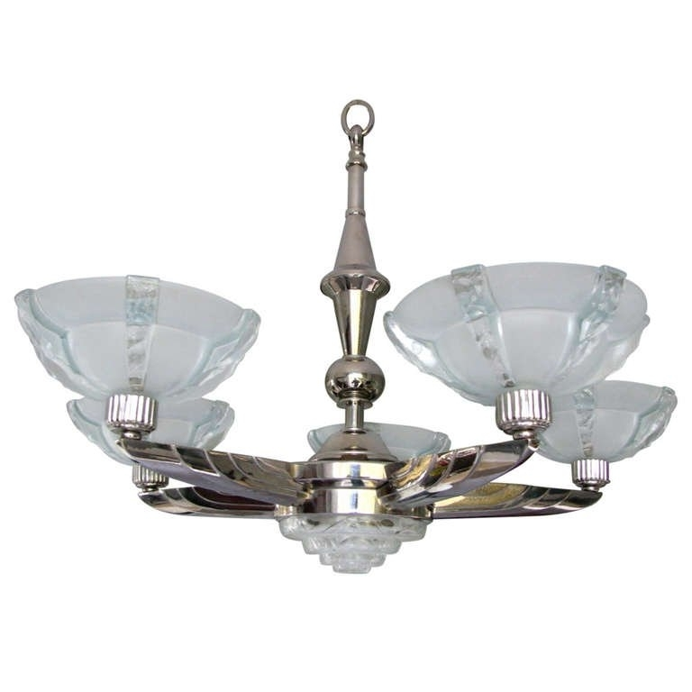 Famous Art Deco Chandelier Signed Petitot For Sale At 1Stdibs With Regard To Art Deco Chandelier (View 7 of 10)