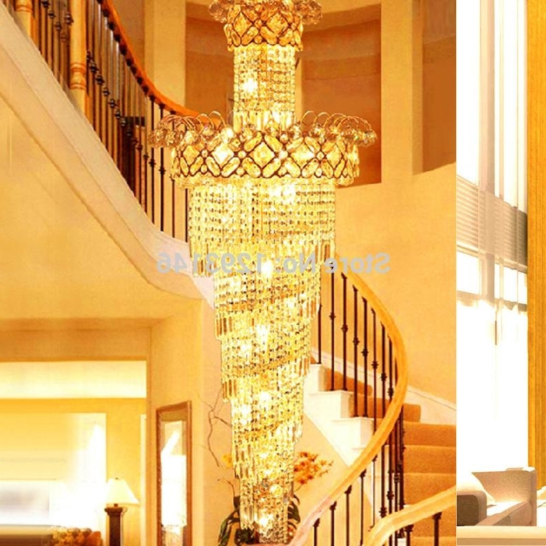 Famous Big Spiral Stairway Crystal Chandelier Led Lamps Long Gold Regarding Big Chandeliers (View 6 of 10)