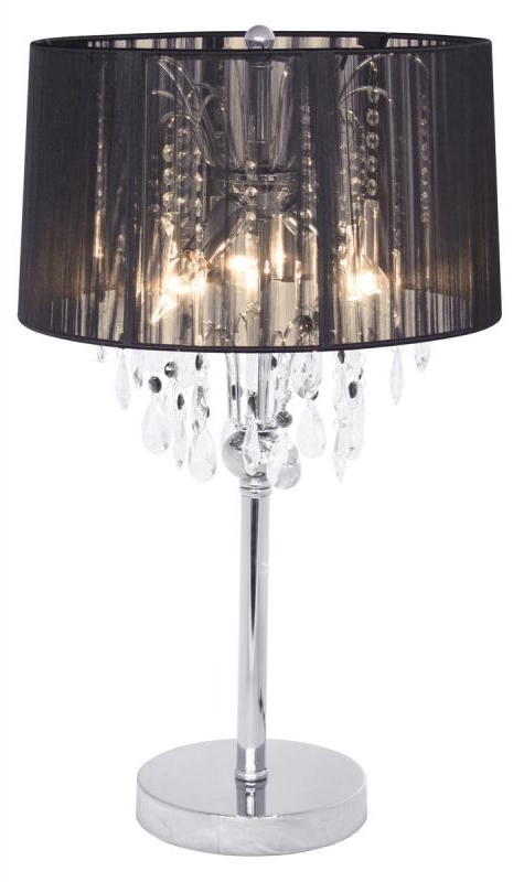 Famous Black Thread Crystal Chandelier Shabby Chic Table Lamp (View 3 of 10)