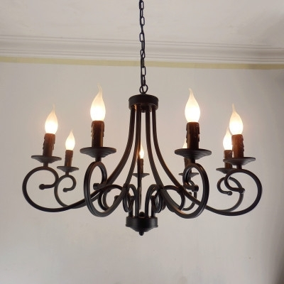 Famous Free Shipping Wrought Iron Chandelier Candles Classical 8 Pieces E14 Pertaining To Wrought Iron Chandelier (View 5 of 10)