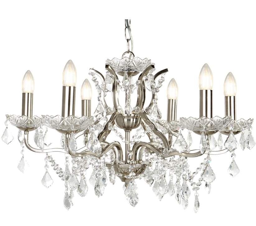 Famous Searchlight Paris 6 Light Chandelier, Satin Silver Finish With Clear Pertaining To 7 Light Chandeliers (View 10 of 10)