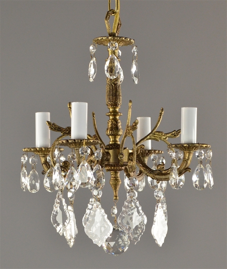 Famous Spanish Brass & Crystal Chandelier C1950 In Brass And Crystal Chandelier (View 6 of 10)