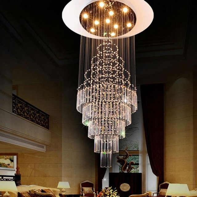 Famous Staircase Chandeliers Within 2017 New Luxury Staircase Long Crystal Chandelier Art Deco Stairwel (View 3 of 10)