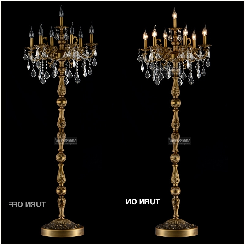 Famous Standing Chandeliers In Classic 7 Lights Crystal Floor Lamp, Floor Stand Light Fixture (View 2 of 10)