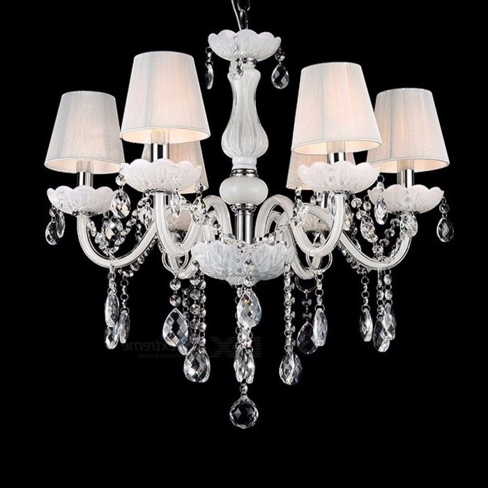 Famous White And Crystal Chandeliers Inside New Modern White Crystal Chandeliers, Ceiling Hanging Light Lamp For (View 3 of 10)