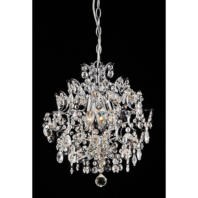 Fashionable 3 Light Crystal Chandeliers In Sabrina Elegant 3 Light Chrome/crystal Chandelier ( (View 5 of 10)