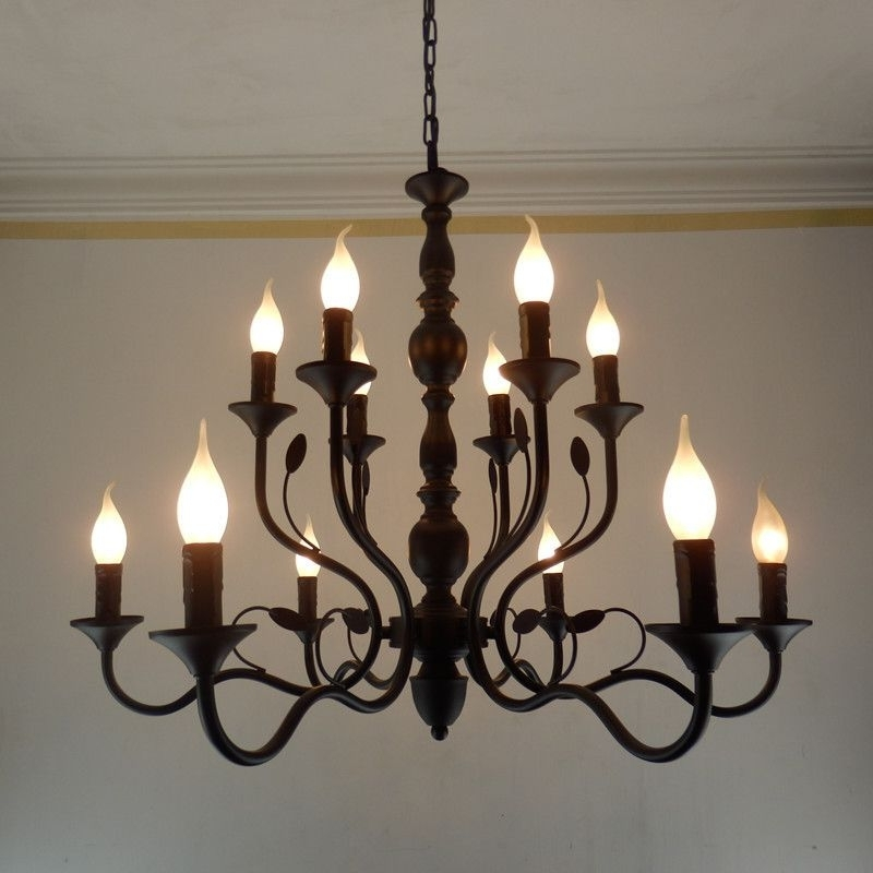 Fashionable Black Iron Chandeliers In Buy Luxury Rustic Wrought Iron Chandelier E14 Candle Black Vintage (View 3 of 10)