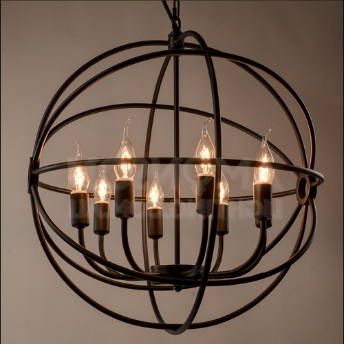 Fashionable Black Iron Chandeliers Regarding Orb Iron Chandelier Black Iron Replica (View 1 of 10)