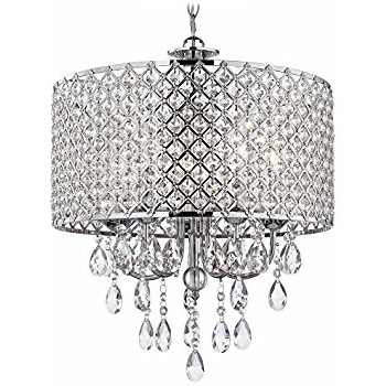 Fashionable Chandelier Chrome Regarding Crystal Chrome Chandelier Pendant Light With Crystal Beaded Drum (View 5 of 10)