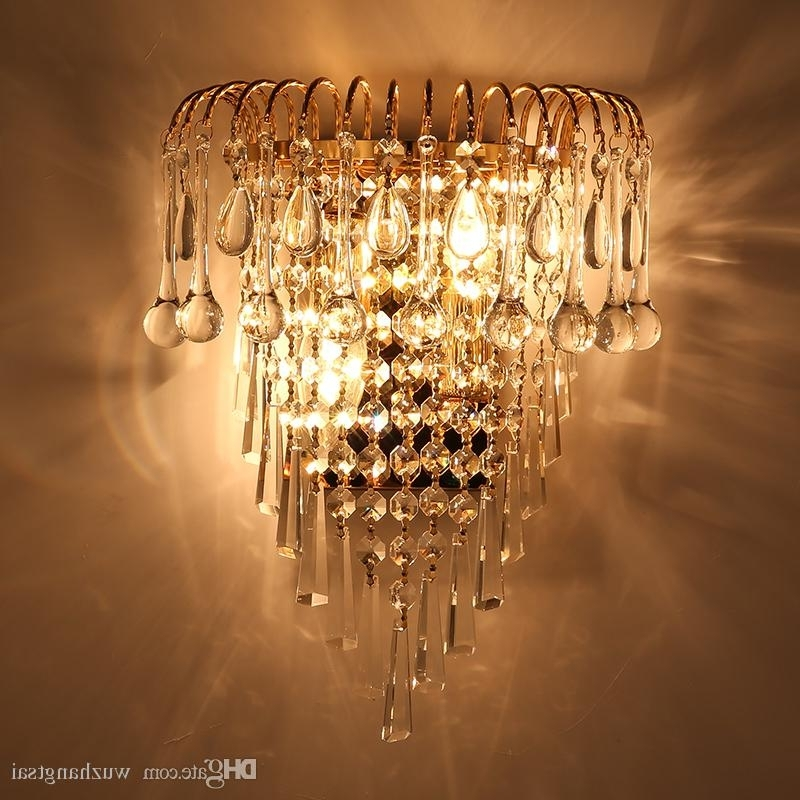Fashionable Chandelier Wall Lights Within 2018 Classic Crystal Chandelier Wall Light Gold Crystalline Wall (View 7 of 10)