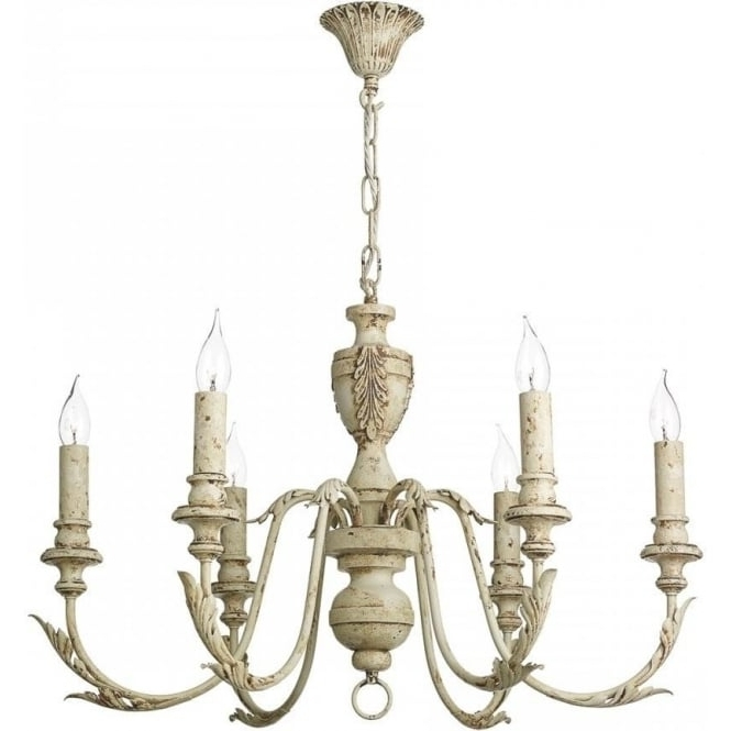 Fashionable French Style Chandelier With Emile Distressed Cream Painted Chandelier In French Shabby Chic Style (View 5 of 10)
