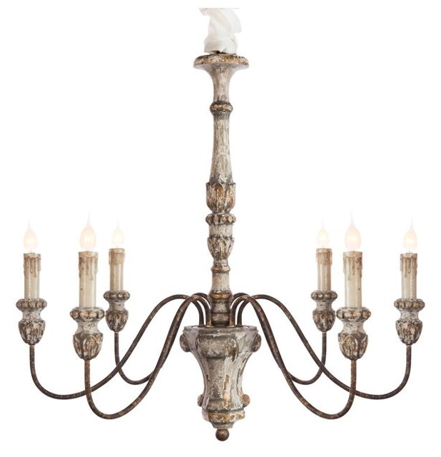 Fashionable French Wooden Chandelier With Regard To Catania 6 Light Vintage Style French Country Wooden Chandelier (View 4 of 10)