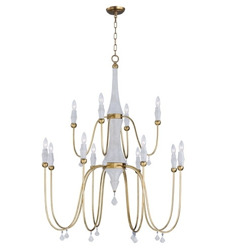 Fashionable Gold Leaf Chandelier Within Maxim 22438Cstgl Claymore 12 Light 40 Inch Claystone And Gold Leaf (View 6 of 10)