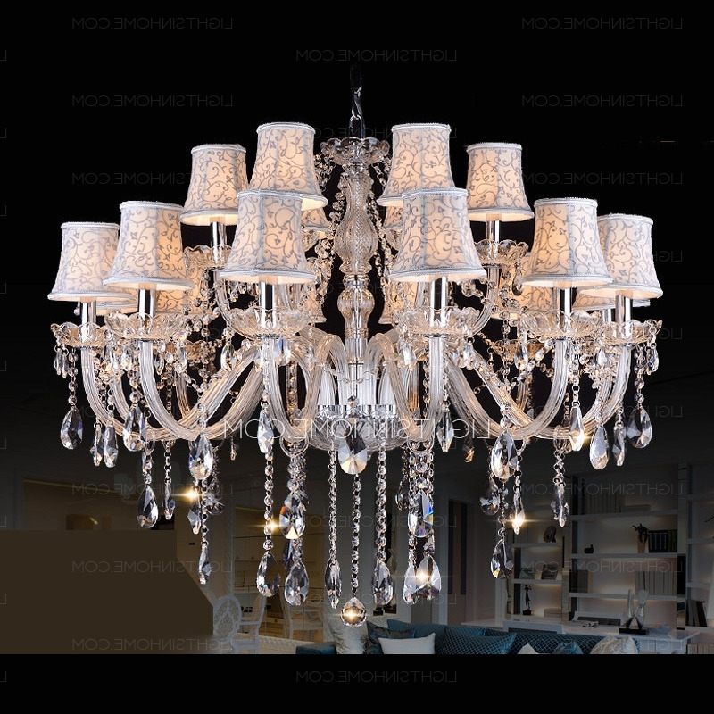 Fashionable Huge 18 Light Fabric Shade Twig Modern Crystal Chandeliers With Huge Crystal Chandeliers (View 4 of 10)