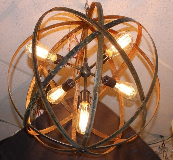 Fashionable Metal Sphere Chandelier With 13 Best Metal Sphere Hanging Lights With Thomas Edison Bulbs Images (View 4 of 10)