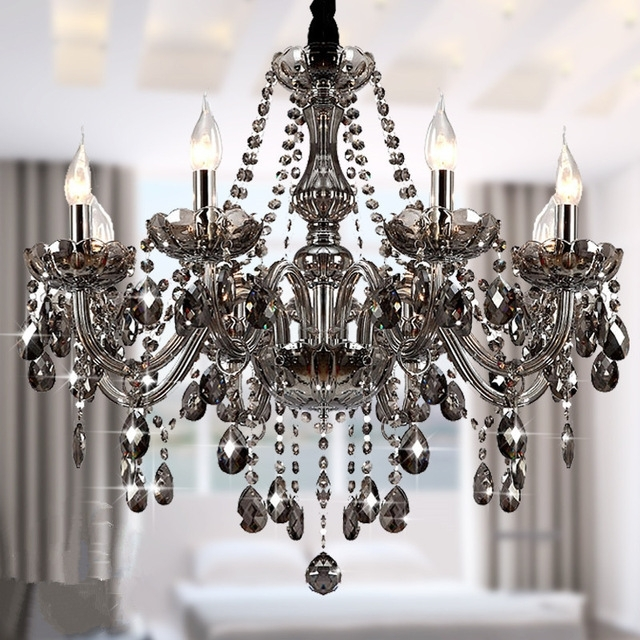 Fashionable Modern Crystal Chandeliers Lighting Lustre De Crystal Smokey Grey Within Grey Chandeliers (View 2 of 10)
