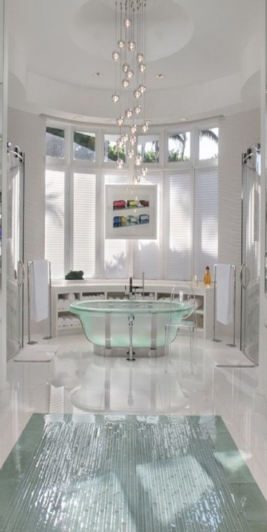 Fashionable Modern Master Bathroom With Master Bathroom, Freestanding, Bathtub Throughout Modern Bathroom Chandeliers (View 5 of 10)