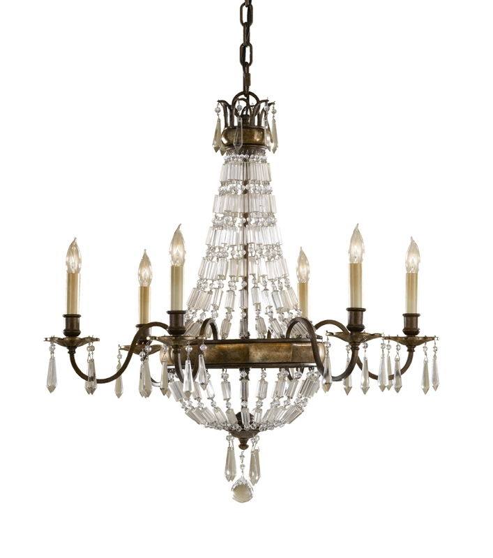 Fashionable Paris 6 Arm Antique Bronze Crystal Chandelier Within Antique Chandeliers (View 2 of 10)