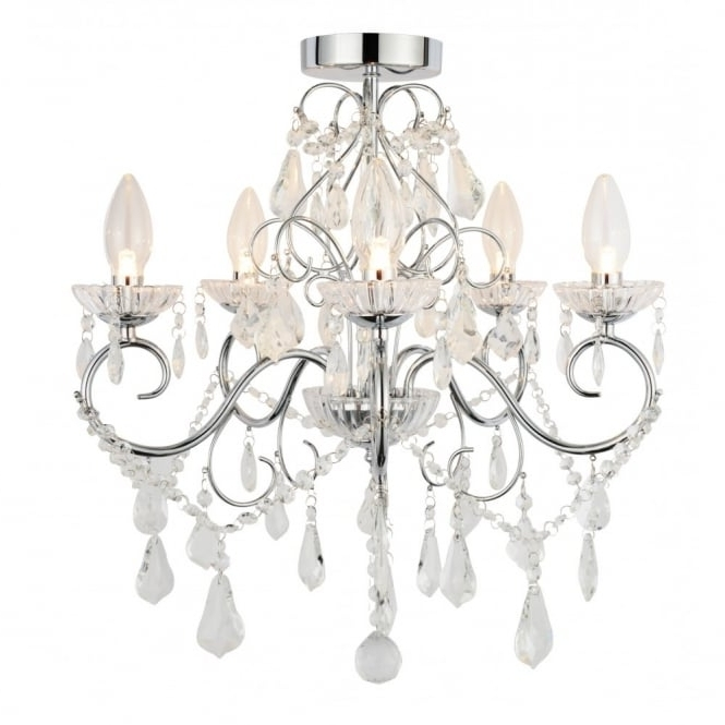 Fashionable Traditional Chrome & Glass Bathroom Chandelier – 5 Light In Glass Droplet Chandelier (View 2 of 10)