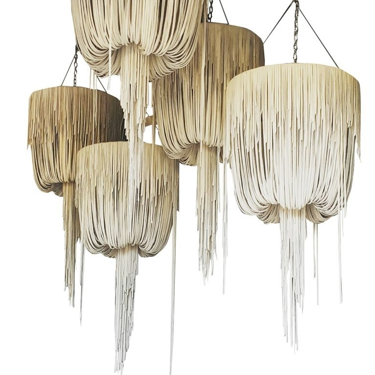 Fashionable Urchin Leather Chandelier (View 3 of 10)