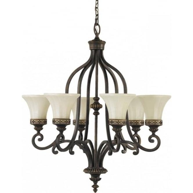 Fashionable Walnut Bronze Ceiling Light Fitting With 6 Lights In Classic Styling Throughout Edwardian Chandeliers (View 9 of 10)