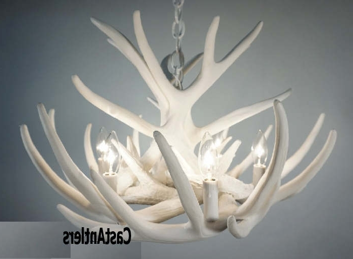 Fashionable White Antler Chandelier Pertaining To Pure White Antler Lights (View 4 of 10)