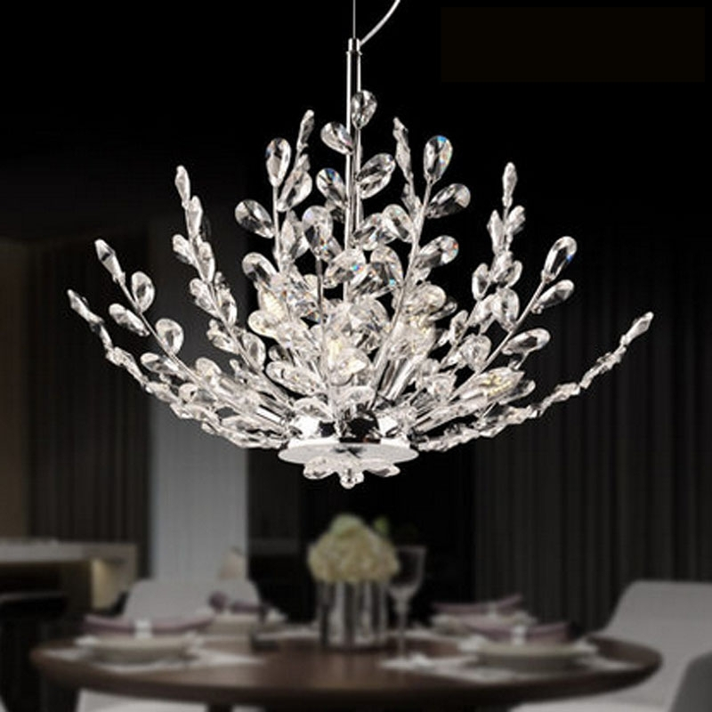 Fashionable Zyy Modern Led Crystal Chandelier Branch Crystal Design Bedroom Within Branch Crystal Chandelier (View 7 of 10)