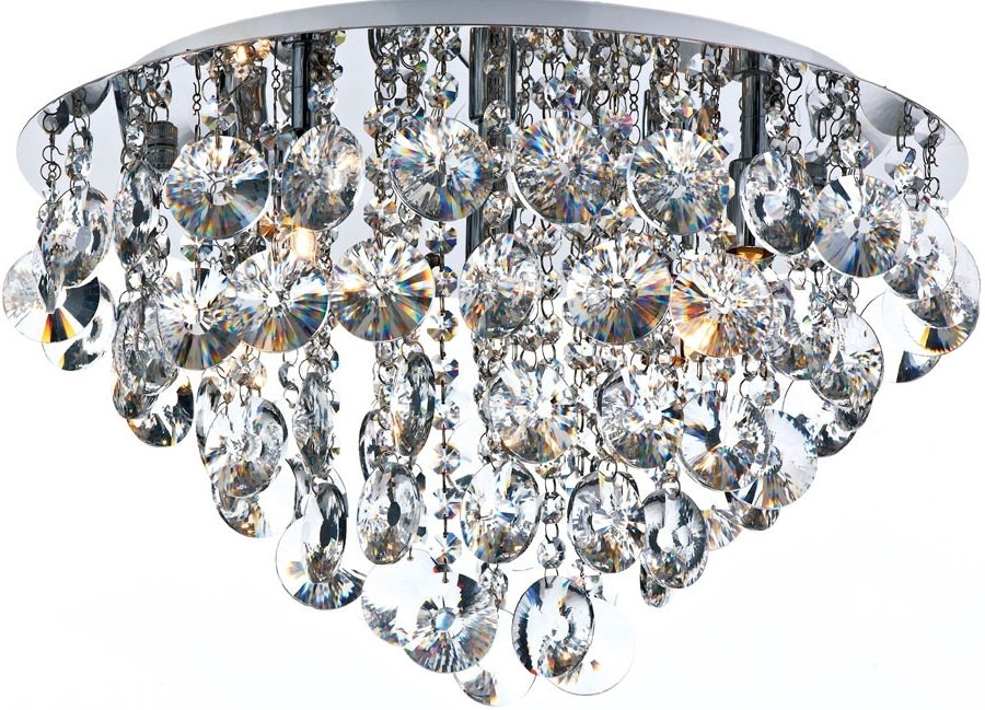 Favorite Dar Jester Modern 5 Lamp Flush Crystal Ceiling Light Chrome Jes5450 Pertaining To Flush Chandelier Ceiling Lights (View 1 of 10)