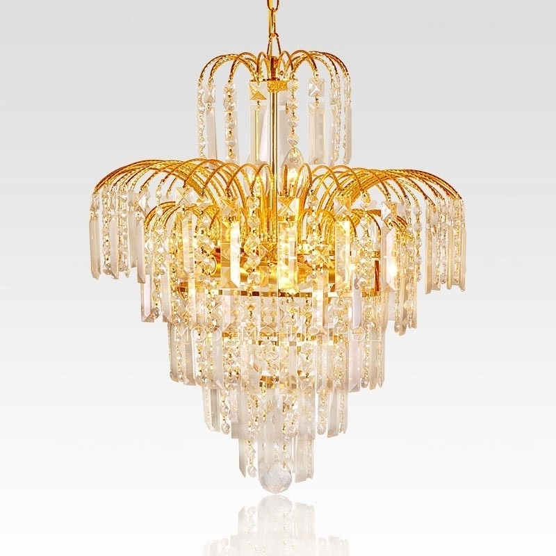 Favorite Funky Chandeliers Within Funky Chandeliers With 6 Lights Crystal Golden Metal (View 7 of 10)