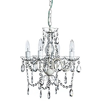 "Favorite Small Gypsy Chandeliers Pertaining To A2s Gypsy Crystal Chandelier – Small White 4 Arm – H18"" W15"" Acrylic (View 10 of 10)"