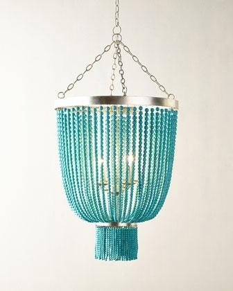 Favorite Turquoise Gem Chandelier Lamps Within Shades Of Light Beaded Basket Chandelier (View 4 of 10)
