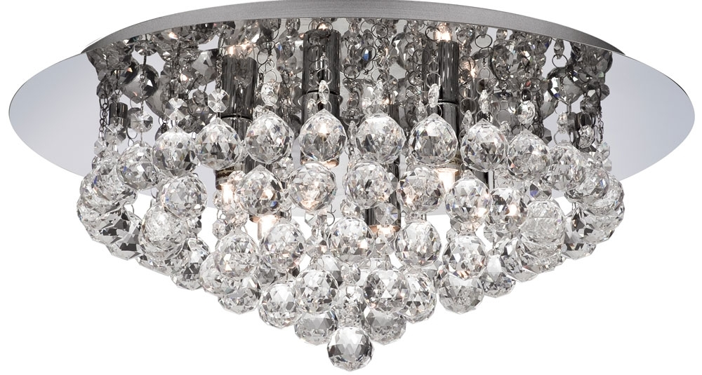 Flush Chandelier Ceiling Lights Throughout Well Known Hanna Chrome Finish 6 Light Flush Crystal Ceiling Light 3406 6Cc (View 4 of 10)