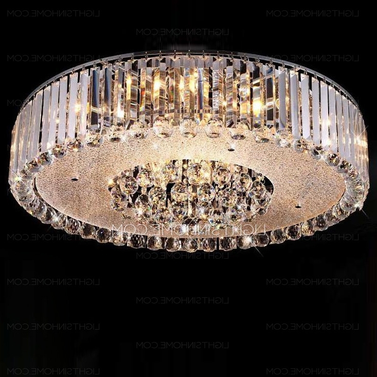 Flush Chandelier Ceiling Lights Within Recent Stunning Crystal Flush Mount Ceiling Light  (View 6 of 10)